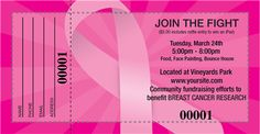 Perfect for your breast cancer research fundraiser, these Pink Ribbon Raffle Tickets are on-theme and will give your next raffle a professional feeling. Breast Cancer Party, Breast Cancer Fundraiser, Survivor Quotes, Raffle Tickets, Fundraising Events, Breast Cancer Awareness, Cancer Ribbons, Ticket Template, Event Planning