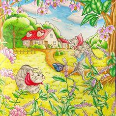 幸せのメヌエット塗り終わりました〜。 春っぽい雰囲気にしてみました♪ #大人の塗り絵 #おとなの塗り絵 #塗り絵 #色鉛筆#油性色鉛筆 #猫#ねこ#ポリクロモス#ホルベイン#ファーバーカステル #coloring #colorpencil #coloringbook #adultcoloringbook #menuetdebonheur #menuetdebonheurcoloringbook #幸せのメヌエット #江種鹿乃子