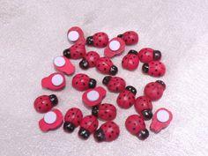 Glücksbringer, Marienkäfer, Rot mit Tupfen, ca. 1 x 0,8cm, 25 Stück