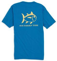 Southern Tide Short Sleeve Outlined Skipjack Tee- Legacy Blue