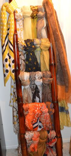 Friendship, Life and Style: Accessories Storage Solutions -- a bamboo ladder for scarf storage and display