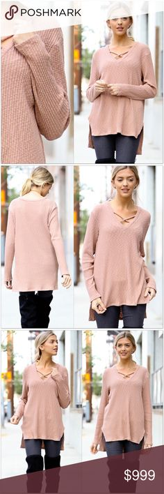 """Blush Criss Cross V-Neck Top Cross-Cross V-Neck Top  •Dusty Rose colored •Waffle Knit fabric •Criss Cross at v-neck •Slit slightly up each side •Hi/Low Style •96% Cotton 4% Spandex  Measurements: S-   Bust: 36"""" Length: 26/29"""" M-  Bust: 38"""" Length: 27/30"""" L-   Bust: 40"""" Length: 28/31""""  #MSW231299  ❗️Price is firm unless bundled❗️ Tops"""