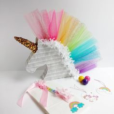 Pinata idea for a unicorn party[ Rainbow Unicorn Party, Unicorn Birthday Parties, First Birthday Parties, First Birthdays, Unicorn Party Hats, Rainbow Pinata, Pyjama Party Fille, Pyjamas Party, Unicorn Crafts