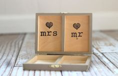 $32 Shabby Chic Rustic Ring Bearer Box Gift Personalized Rustic Wedding Ring Box Sign Burlap Flowers