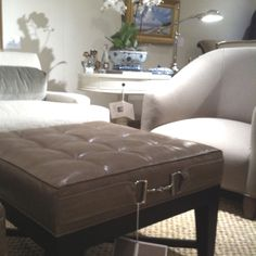 What an elegant ottoman at Stanford Furniture...I love the hardware and all the different options available...!  #HPMkt