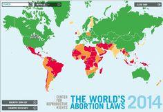 Mapa Interactivo sobre la situación legal internacional del Aborto
