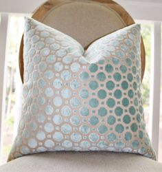 Decorative Designer Pillow Cover - Geometric Mineral Velvet Pillow - Throw Pillow - Robert Allen - Sea Foam Aqua Pillow