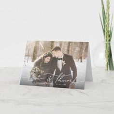 Love & Thanks Modern Hand Lettered Script Wedding Thank You Card Wedding Thank You Postcards, Wedding Cards, Wedding Calligraphy, Modern Calligraphy, Wedding Envelopes, Custom Thank You Cards, Christmas Card Holders, Zazzle Invitations, Photo Cards