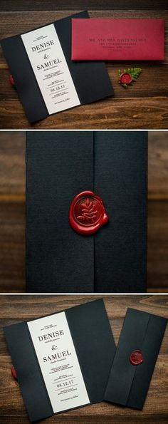 Wax Seal Wedding Invitation by Penn & Paperie. This black gatefold invitation is sealed shut with a classic red wax seal.