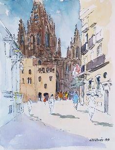 Barcelona cathedral, tinta+acuarela / ink+watercolor. Joaquim Francés
