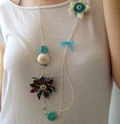 Asymmetrical silk and organza flower necklace with by ImwtheBand