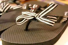 DIY Ribbon Flip Flops--dressing up plain flip flops!