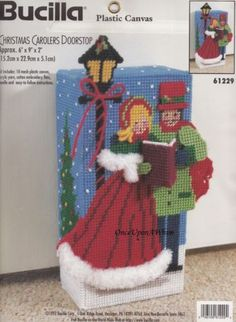 Christmas Carolers Doorstop Bucilla Plastic Canvas Complete Kit 61229 for sale online Plastic Canvas Christmas, Plastic Canvas Crafts, Plastic Canvas Patterns, Christmas Gift Baskets, Christmas Stockings, Christmas Carol, Christmas Time, Holiday, Christmas Crafts
