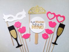 12-Piece Bachelorette Photo Booth Props - Bachelorette Party - Last Fling Before the Ring - Glitter Photobooth Props - Wedding Photo Booth by CleverMarten on Etsy https://www.etsy.com/listing/179332669/12-piece-bachelorette-photo-booth-props