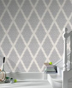 Jewel Pearl and Silver create a drama in your hallway, bedroom, or lounge with this intricate lacy diamond shaped motif with iridescent enhancements.