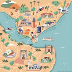 Jasmijn Evans - Illustrated map of Istanbul for KLM Holland Herald magazine