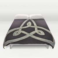 Duvet Cover featuring Triskele Knot by Brusling
