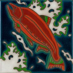 ceramic tile Salmon fish hand painted kitchen back splash mural trivet hot plate original Salmon glazed ceramic art tile hand painted original Fish Wall Art, Fish Art, Art Installation, Kitchen Installation, Tile Murals, Mural Art, Hand Painted Walls, Ceramic Art, Glazed Ceramic