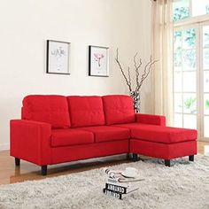 Living Room Modern Small Space Reversible Linen Fabric Sectional Sofa Color Red #ModerneLivinfTM #Modern