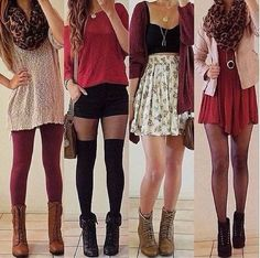 Leggings, tights, knee high socks, high wasted skirts, scarfs, boots. LOVE!