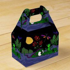 Frog Sitting on Alligator Folk Art Gift Box #frogs #alligators #art #funny #gift #box And www.zazzle.com/tickleyourfunnybone*