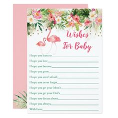 Tropical Flamingo Wishes For Baby Card - pink gifts style ideas cyo unique