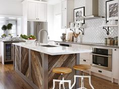 white and wood kitchen by Sarah Richardson