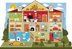 Illustration about Cross-section of a doll house style building. Illustration of crosssection, vector, laundry - 30438004