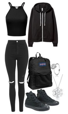 """""""shopping"""" by sleepingwithrazors ❤ liked on Polyvore featuring Topshop, H&M, Converse, JanSport and Bling Jewelry"""