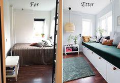 Familien brukte knapt rommet før vi pusset det opp. Med en skreddersydd oppbevaringsbenk utnyttet vi plassen maksimalt og ga dem et nytt favorittrom til gjester, lek og kos. Diy Sofa, Oversized Mirror, Bed, Furniture, Home Decor, Bamboo, Diy Couch, Stream Bed, Room Decor