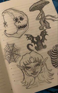 Indie Drawings, Art Drawings Sketches Simple, Pencil Art Drawings, Tattoo Sketches, Cool Cartoon Drawings, Psychedelic Drawings, Aesthetic Drawings, Dark Drawings, Tattoo Design Drawings