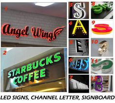 Illuminated Led Signs Logotype Channel Letters D Coffee Shop