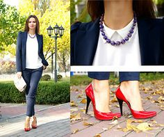 Red pumps with black heels