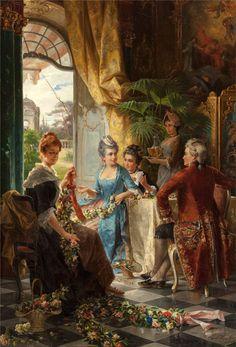 Weaving Garlands by Carl Herpfer (German 1836-1897)