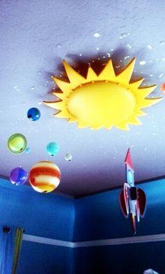 Ikea sun light, rocket ship and planets.Smila Sol ceiling IKEA.