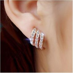 Fashion Gold Color Style Simple Crystal Stud Earrings For Women Wedding Jewelry Bridal Engagement Earrings Female Gifts. Bar Stud Earrings, Rose Gold Earrings, Crystal Earrings, Clip On Earrings, Earrings Online, Flower Earrings, Crystal Jewelry, Platinum Earrings, Peridot Earrings