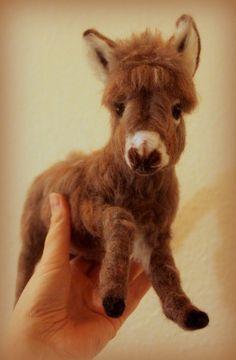 Needle felted donkey: miniature donkey by Amanda Adebisi of fit to be loved