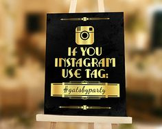 Instagram sign: Roaring 20s party or Great Gatsby wedding printable decoration for your hashtag. Gold and Black Instagram poster. Art deco