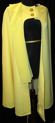 SOLD!  Open front Cape Size L XL Bright solid Yellow Ladies Misses Lined Scarf handmade #Handmade #Cape
