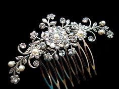 Wedding hair comb bridal hair comb Flower hair by treasures570, $75.00