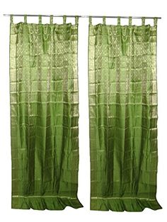 2 India Silk Sari Curtains Spring Green Brocade Silk Saree Drapes Window Treatment Panels Mogul Interior http://www.amazon.ca/dp/B0146R26OK/ref=cm_sw_r_pi_dp_Kt.2vb163C9W3