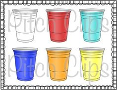 Plastic cup clipart! This will make your teaching resources shine!  #tpt #pitchclips #teacherspayteachers #clipart