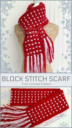 Block Stitch Scarf a Free Crochet Pattern on The Purple Poncho #crochet #blockstitch #thepurpleponcho #christmasgifts #fashion