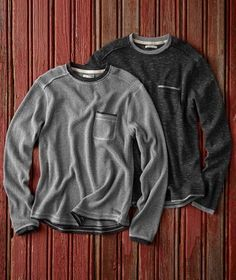 North Coast Thermal Tee - The catalog defies maddening as they don't show males modeling. What the actual fuck? Mens Outdoor Fashion, Mens Fashion, Sweater Jacket, Men Sweater, Mens Tees, Cool T Shirts, Men's Knitwear, Jeans, Dream Closets