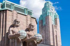 Two stone giants guard the entrance to Helsinki's art nouveau train station. Kingdom Of Sweden, Visit Helsinki, Cultural Identity, Europe, Famous Architects, Mythical Creatures, Art Nouveau, Art Deco, 19th Century