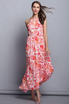 Red Floral Halter Maxi Dress
