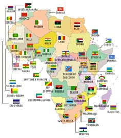 African countries and flags on map Geography Map, World Geography, Countries And Flags, Countries Of The World, African Countries List, List Of Countries, Tanzania, Africa Flag, Les Continents