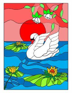 Imitation stained glass, swan, bird Sea Glass Mosaic, Stained Glass Birds, Stained Glass Designs, Sea Glass Art, Mosaic Designs, Stained Glass Patterns, Mosaic Art, Painted Wine Bottles, Yarn Painting