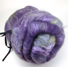 RIBBON THREADS, RICK RACK YARN, TWINE, ETC............ PC....Spinning fiber Alpaca Silk Mohair Batt Purple by UpstreamAlpacas