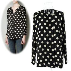 New Fashion Women's Round Neck Long Sleeve Big Dot Chiffon Blouse Shirt Tops